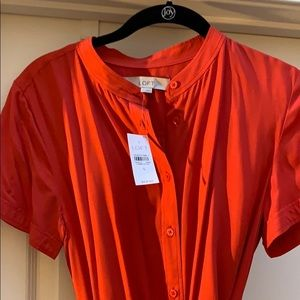 Red Belted Shirt Dress